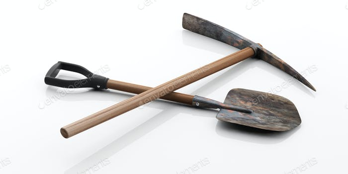 Pickaxe and shovel on white background. 3d illustration