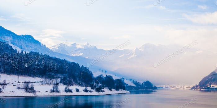 Fantastic winter landscape.  Panoramic view of beautiful winter