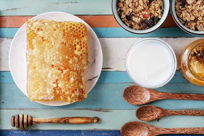 Homemade granola served with honey