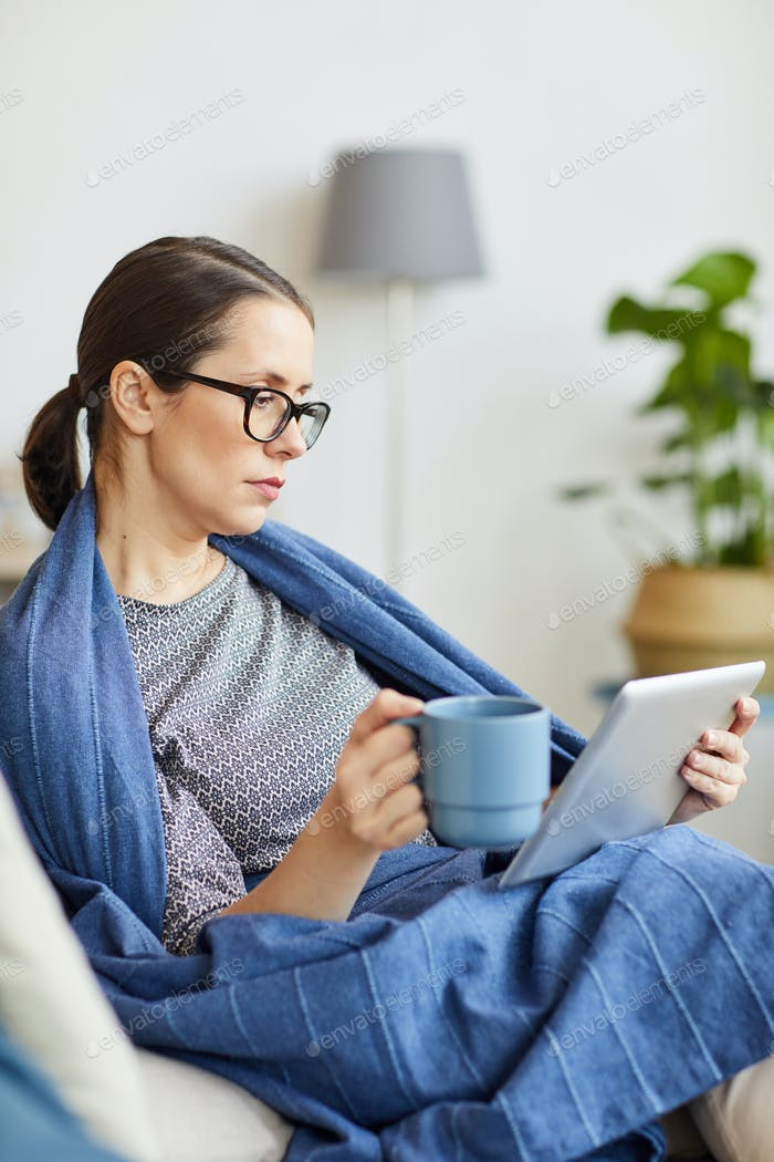 Woman is on self isolation at home