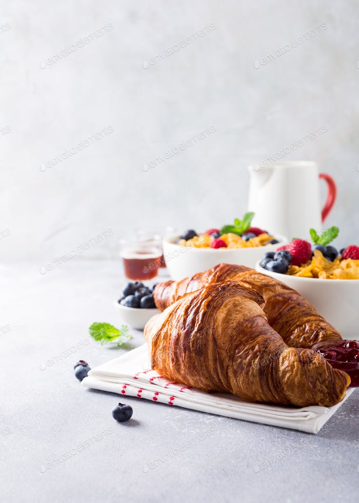 Healthy breakfast with croissants