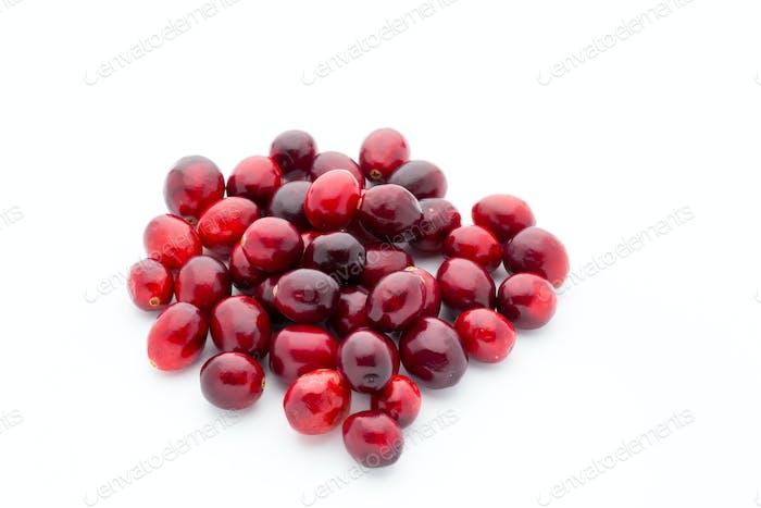 Cranberries Draufsicht. Rote, reife Preiselbeeren Makroansicht.