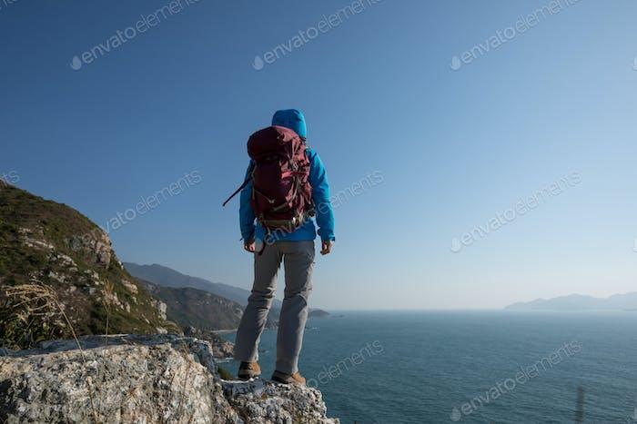Hiking on seaside mountains