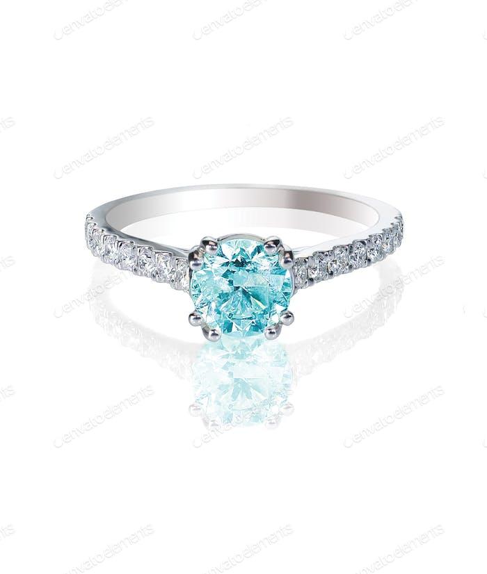 Blue Diamond non traditional bridal engagment wedding ring