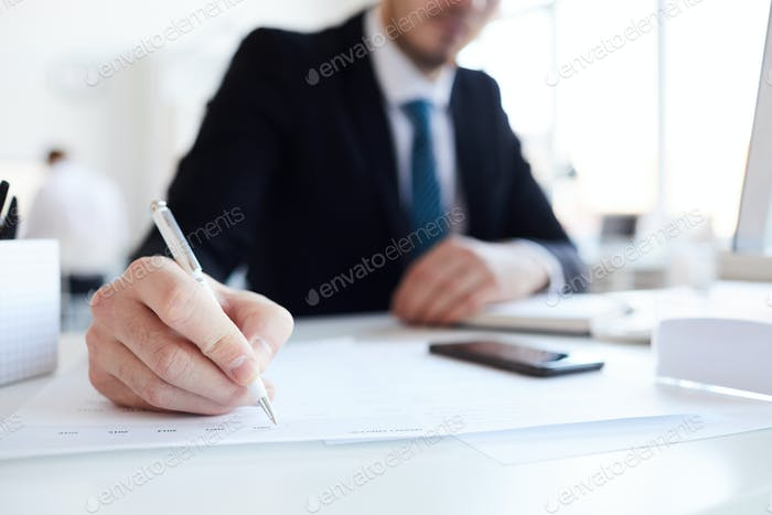 Pointing at paper