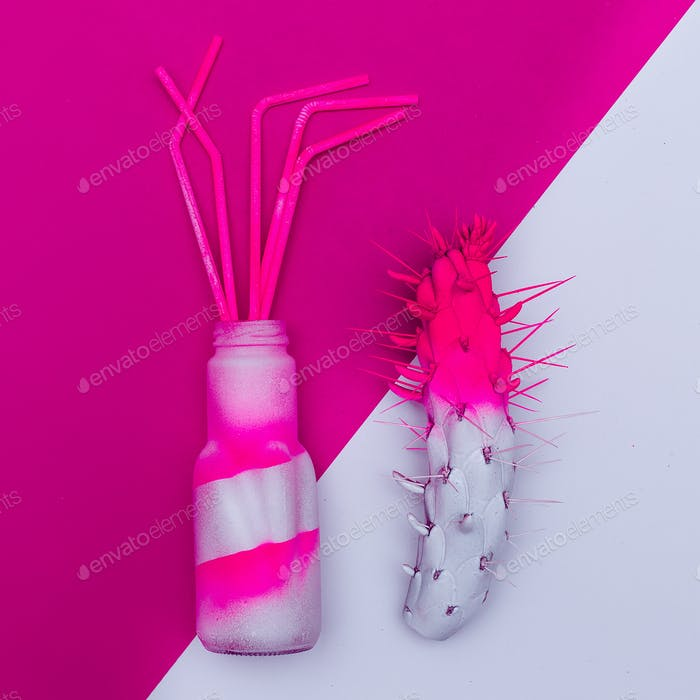 Cocktail and cactus. Minimal art. dangerous mix