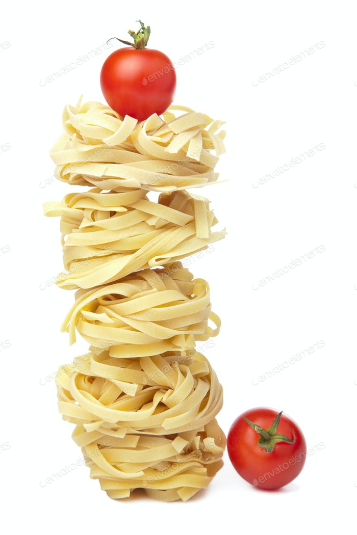 raw pasta tagliatelle isolated