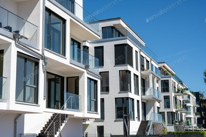 Modern white townhouses