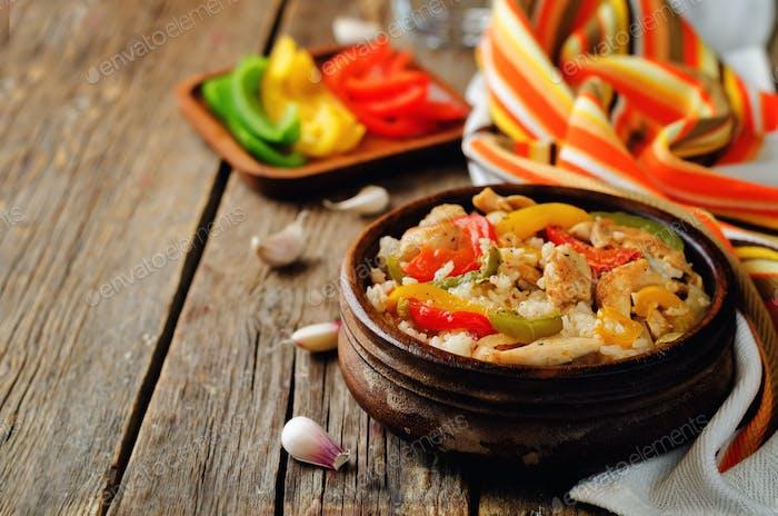 Chicken Bell pepper rice