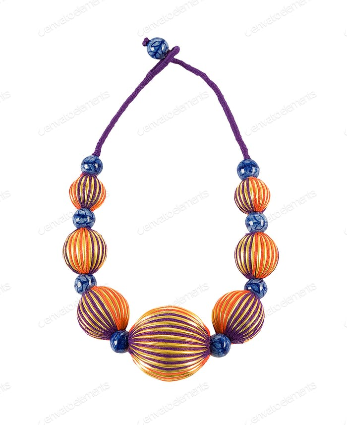 Gold splined spherical beads necklace