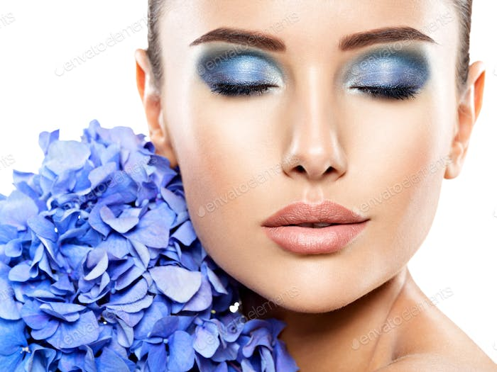 Makeup Face Flower Blue Woman Fashion