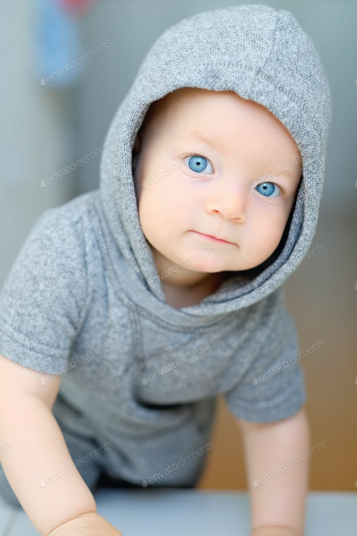 Baby boy with blue eyes