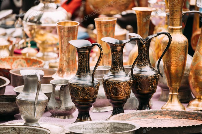 Tbilisi, Georgia. Close View Of Jugs In Shop Flea Market Of Anti