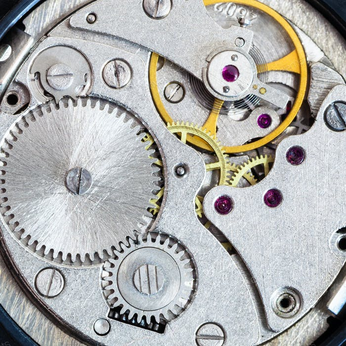 steel clockwork of old mechanical wristwatch