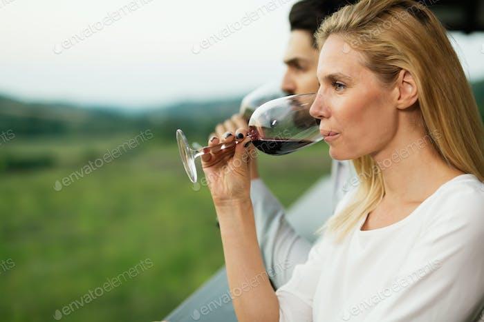 Beautiful woman enjoying wine