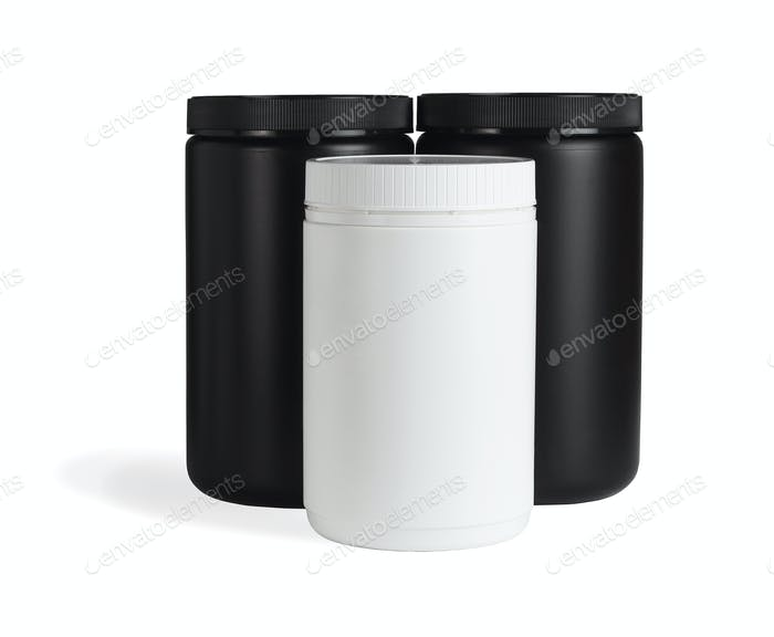 Black and White Plastic Containers