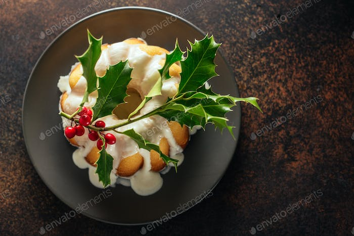 Christmas cake with deco on table