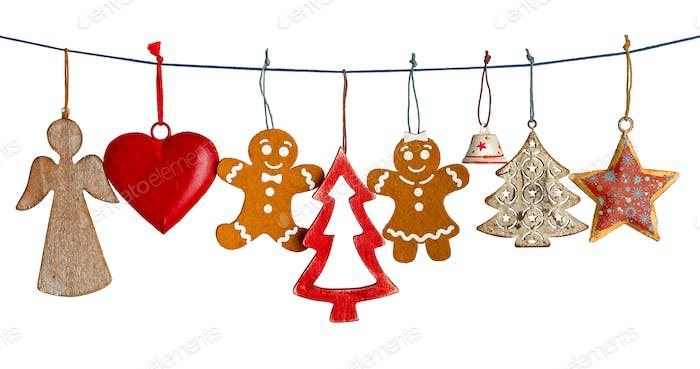 Various Christmas decorations isolated