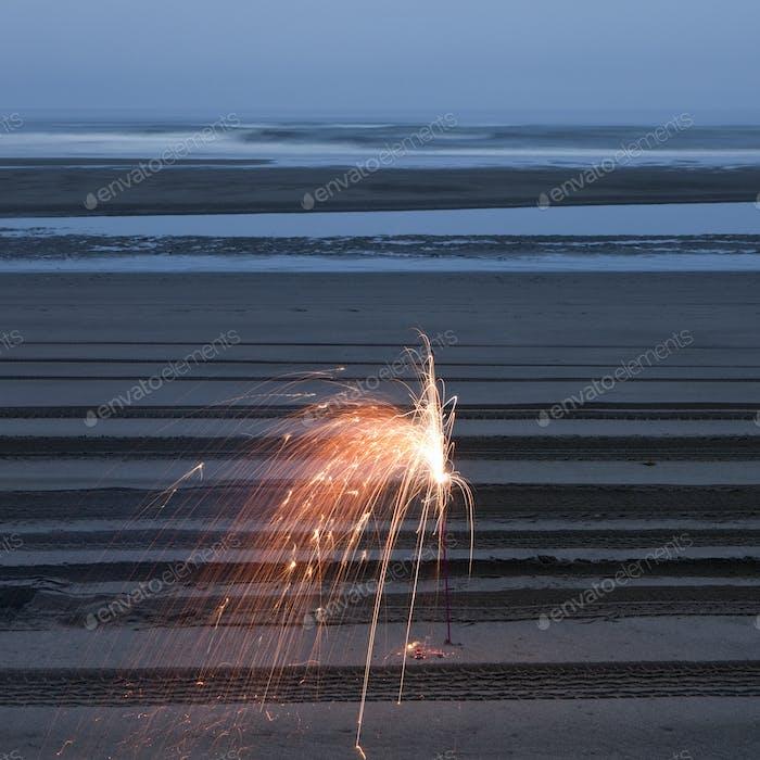 Sparkler on the Beach