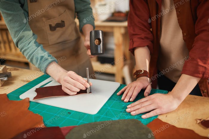 Cutting Off Leather Piece Corner