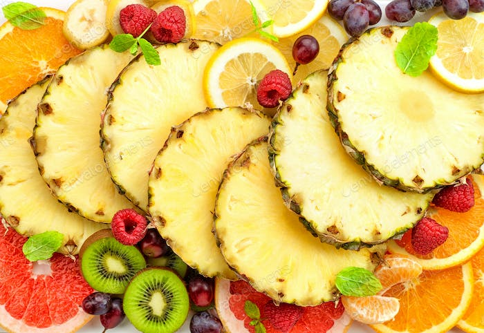 various sliced fruits