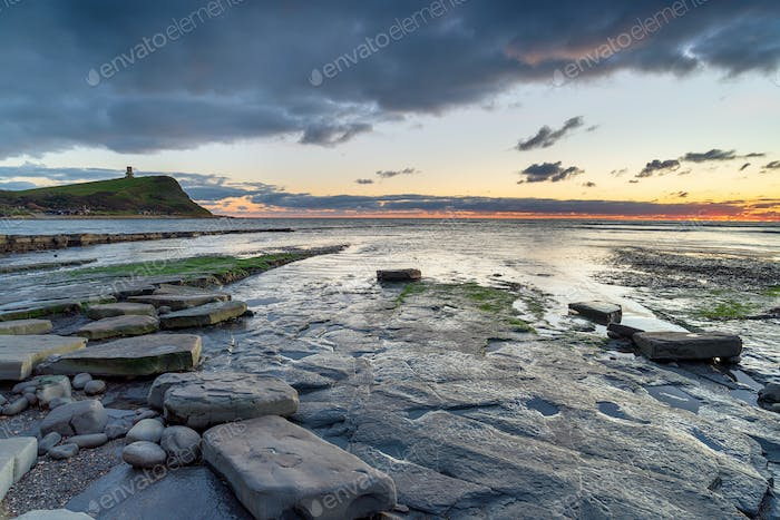 Dusk over the rocky shore at Kimmeridge