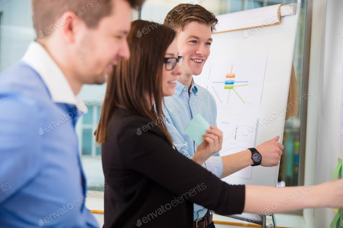 Businessman Smiling While Female Executive Holding Adhesive Note