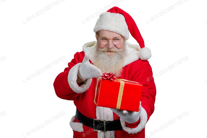 Santa Claus with gift, white background