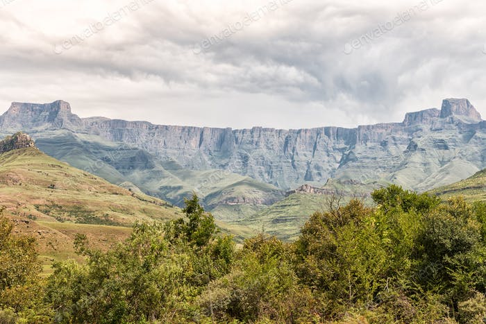 View of the Amphitheatre in the Kwazulu-Natal Drakensberg