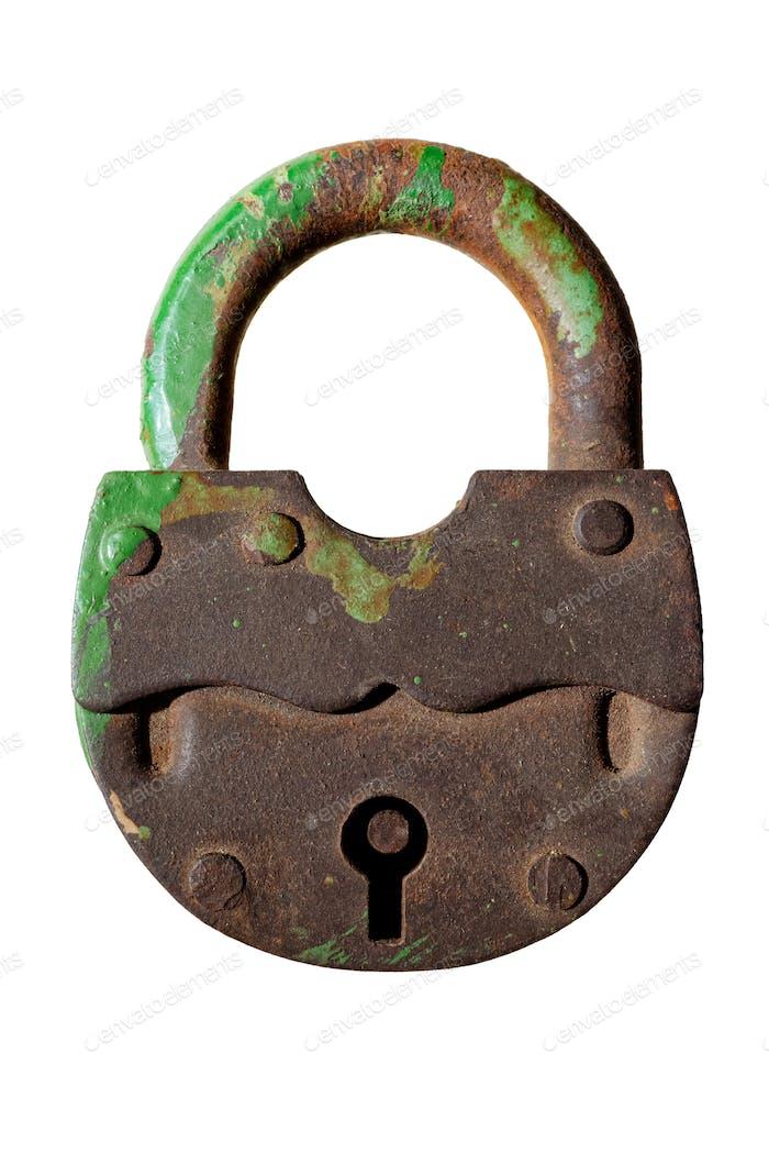 Old green padlock