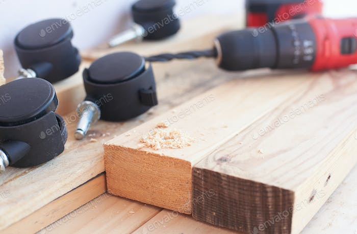 DIY woodwork with the electric drill