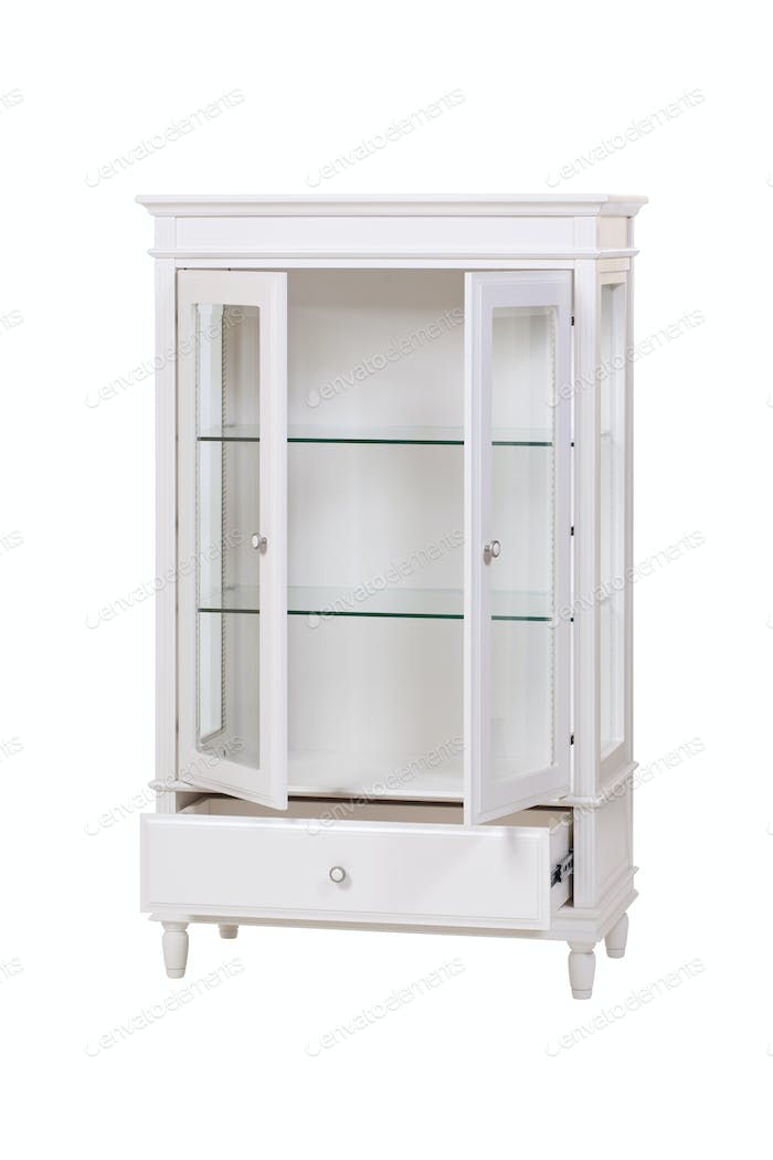 White wooden cupboard with open doors isolated over white