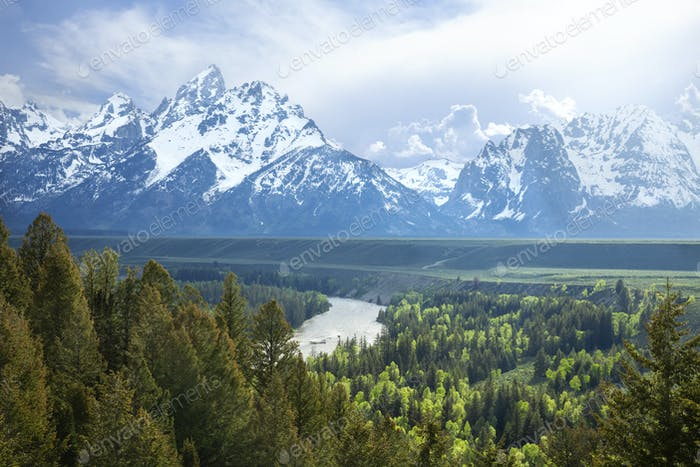 Grand Teton Mountains and Snake River in stormy afternoon light