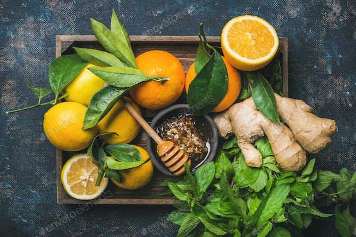 Ingredients for making immunity boosting natural hot drink in box