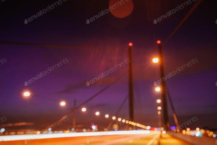 Night city landscape Dyusildorf. Media harbor. Germany.Natural b