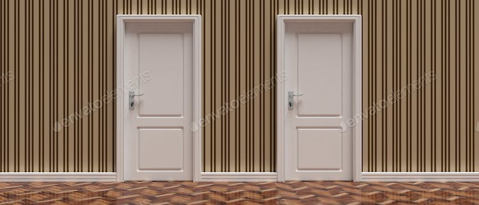 Two closed doors against vintage wallpaper and wooden floor background, banner. 3d illustration