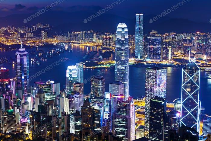 Stadtbild in Hong Kong bei Nacht