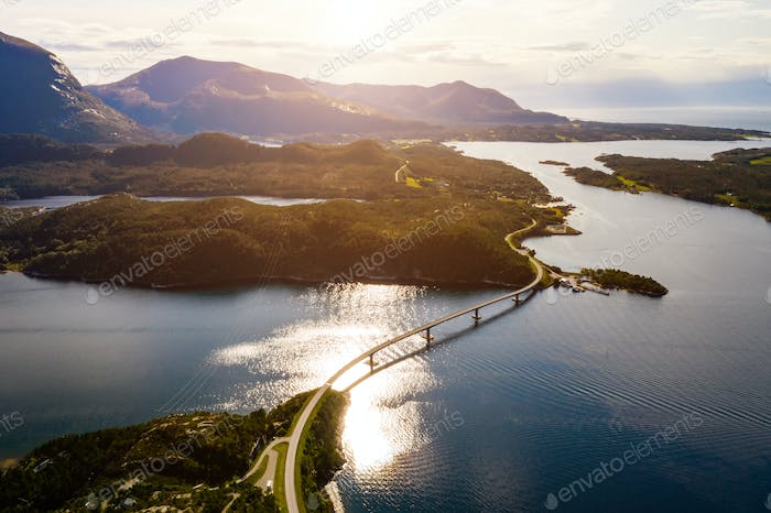 Beautiful Norwegian fjord at sunset. Aerial view