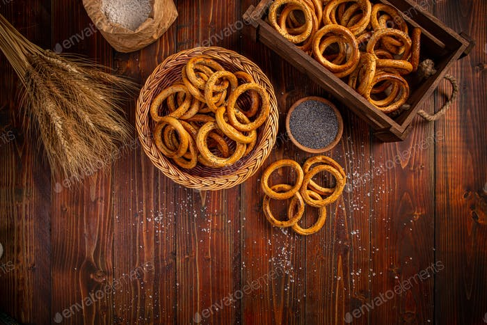 Pretzel ring on wood