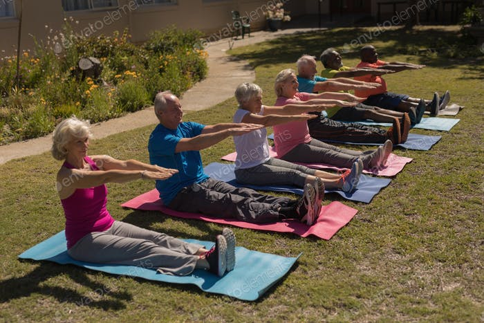 Side view of group of active senior people exercising aligned on yoga mat in the park