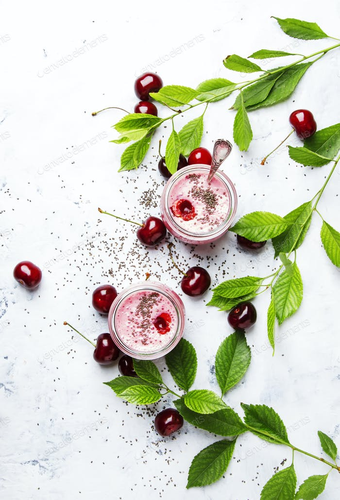 Pink cherry smoothies with yoghurt and chia seeds