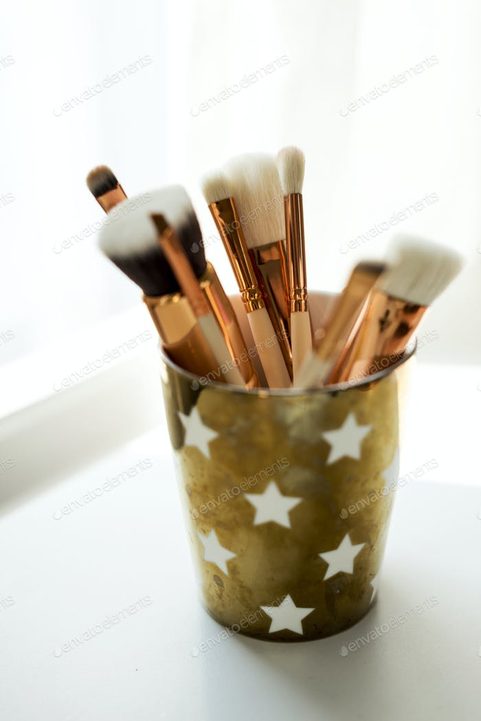 Closeup of makeup brushes