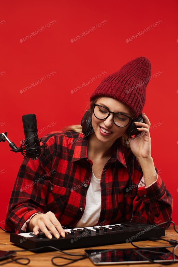 Woman recording the song