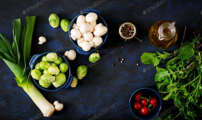 Dietary menu. Ingredients: Vegetables - Brussels sprouts, mushrooms, leeks and herbs
