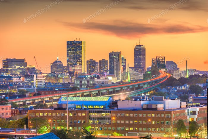 Boston, Massachusetts, USA skyline with bridges and highways
