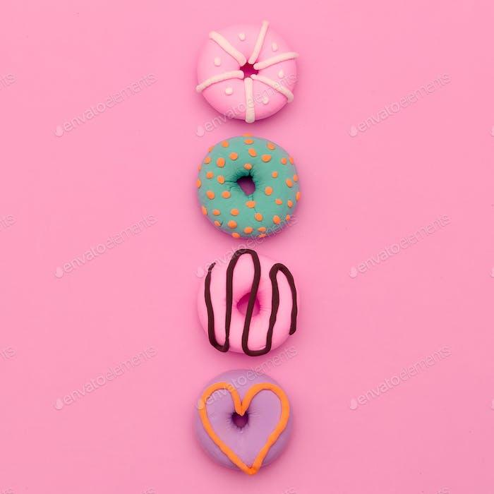Modischer Donut Mix. Pink Candy Minimal Flatlay Kunst.
