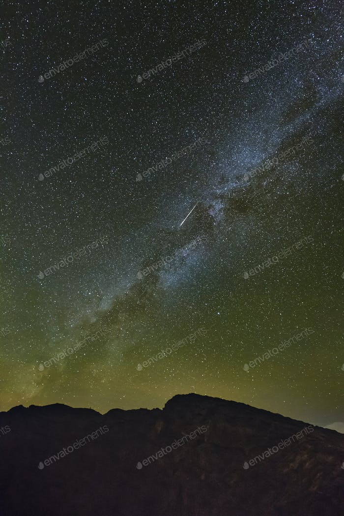 Milkyway And Shooting Star Above La Palma Caldera