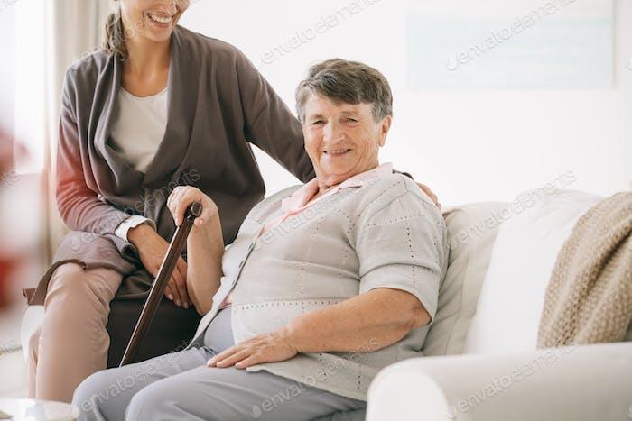 Older woman in nursing home