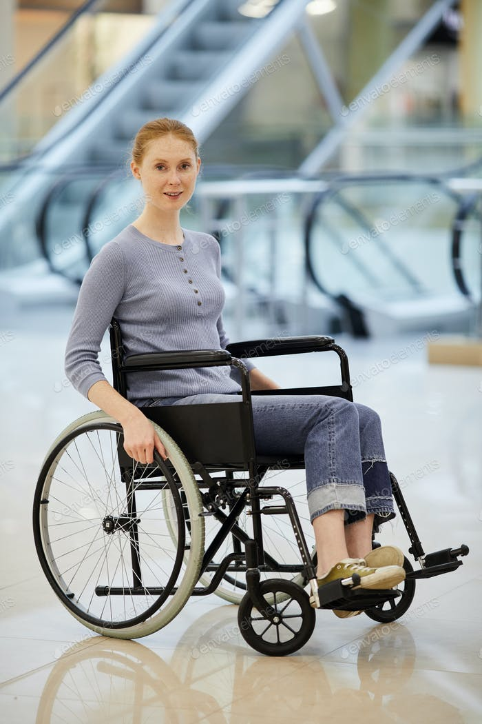 Disabled woman in shopping centre
