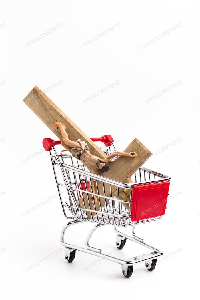Crucifix in shopping cart